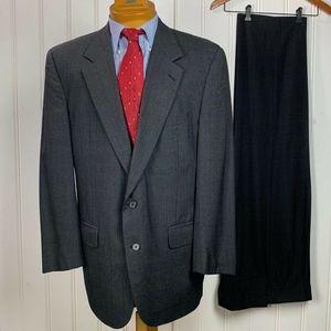 Burberrys' Men Suit 2 Button Closure Charcoal Grey